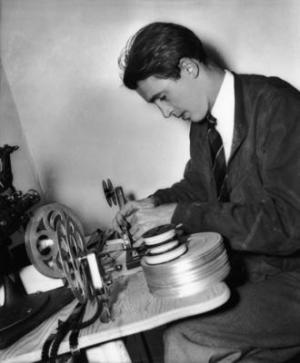 James Stewart edits a home movie, ca. 1938. Courtesy of the Margaret Herrick Library.
